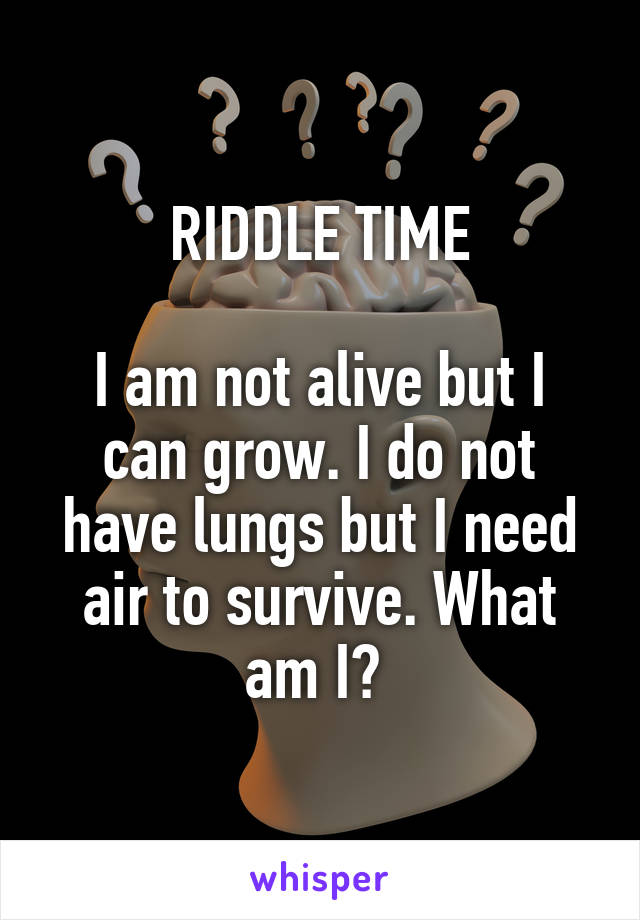 RIDDLE TIME  I am not alive but I can grow. I do not have lungs but I need air to survive. What am I?