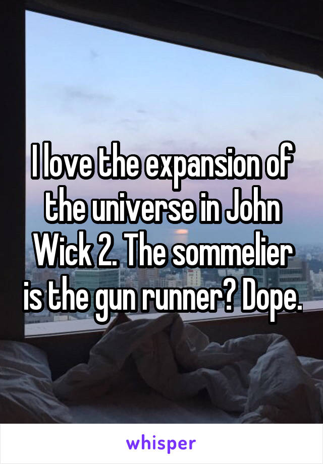 I love the expansion of the universe in John Wick 2. The sommelier is the gun runner? Dope.