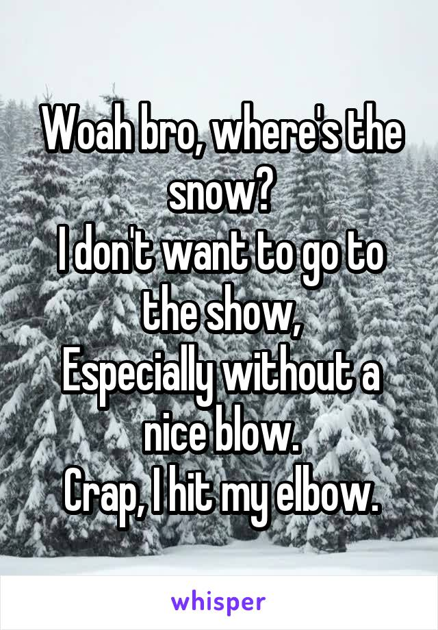 Woah bro, where's the snow? I don't want to go to the show, Especially without a nice blow. Crap, I hit my elbow.