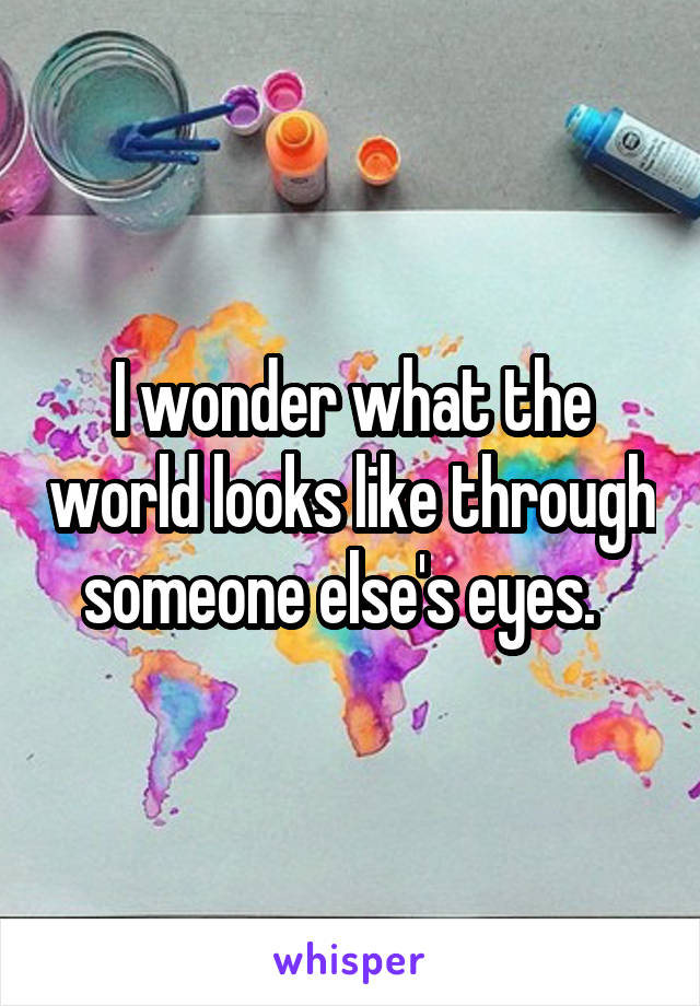 I wonder what the world looks like through someone else's eyes.