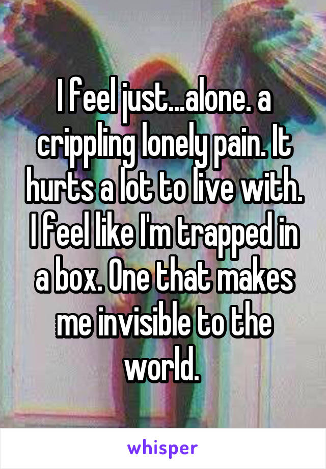 I feel just...alone. a crippling lonely pain. It hurts a lot to live with. I feel like I'm trapped in a box. One that makes me invisible to the world.