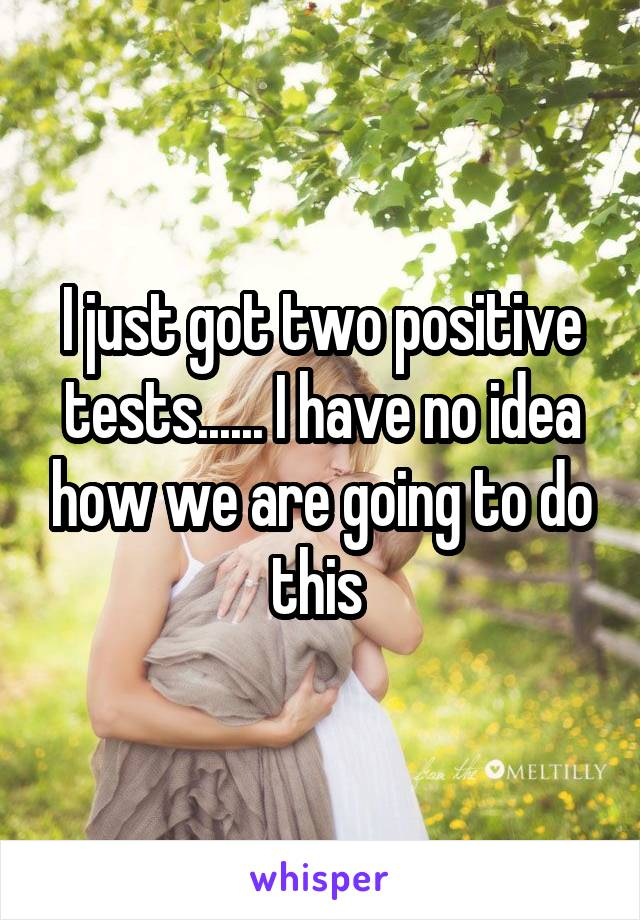 I just got two positive tests...... I have no idea how we are going to do this