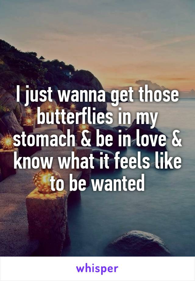 I just wanna get those butterflies in my stomach & be in love & know what it feels like to be wanted