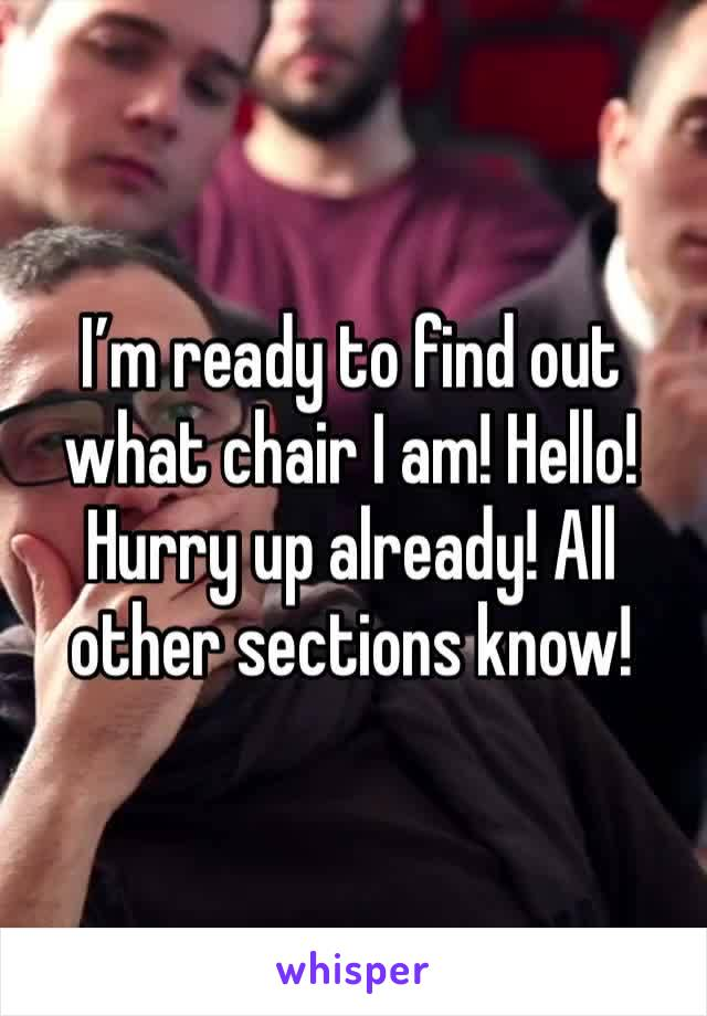 I'm ready to find out what chair I am! Hello! Hurry up already! All other sections know!