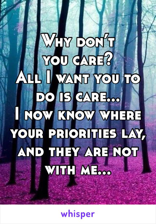 Why don't you care?  All I want you to do is care... I now know where your priorities lay, and they are not with me...