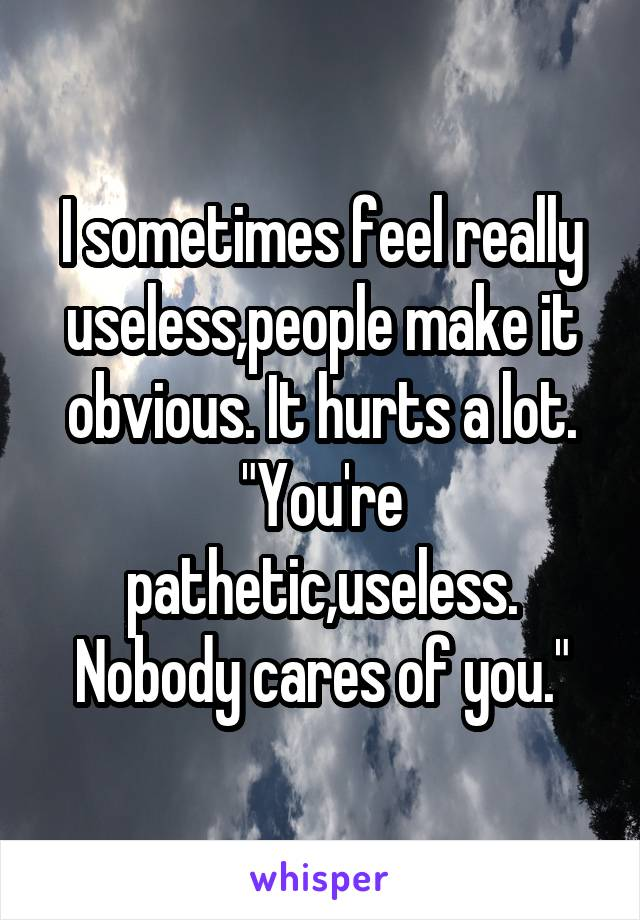 """I sometimes feel really useless,people make it obvious. It hurts a lot. """"You're pathetic,useless. Nobody cares of you."""""""