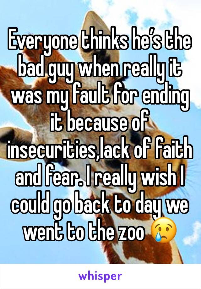 Everyone thinks he's the bad guy when really it was my fault for ending it because of insecurities,lack of faith and fear. I really wish I could go back to day we went to the zoo 😢
