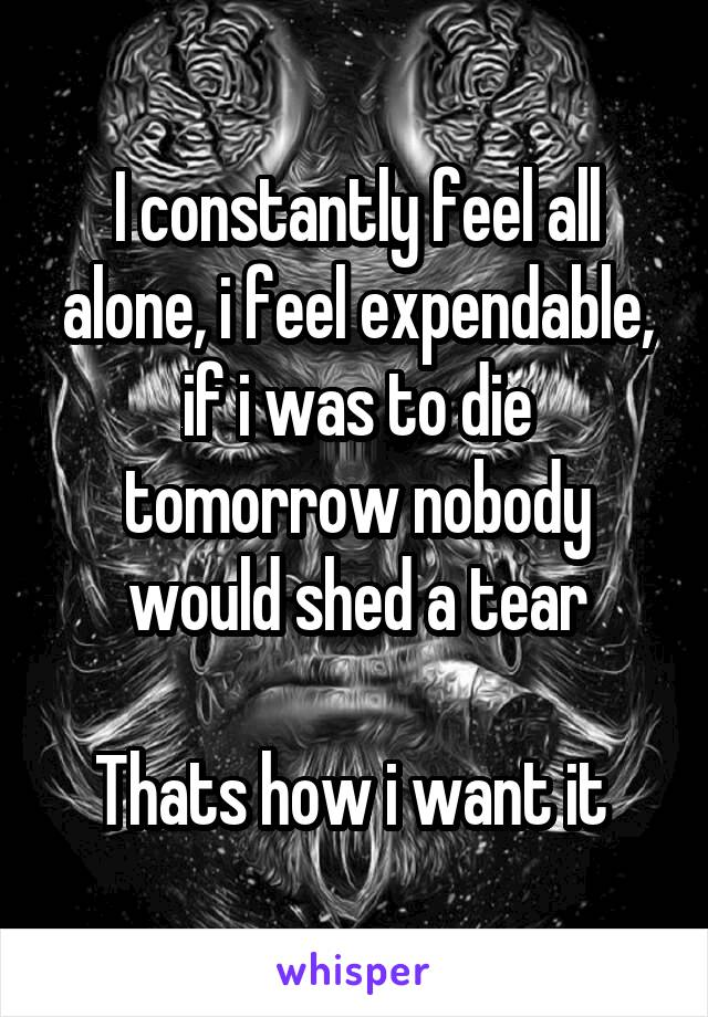 I constantly feel all alone, i feel expendable, if i was to die tomorrow nobody would shed a tear  Thats how i want it