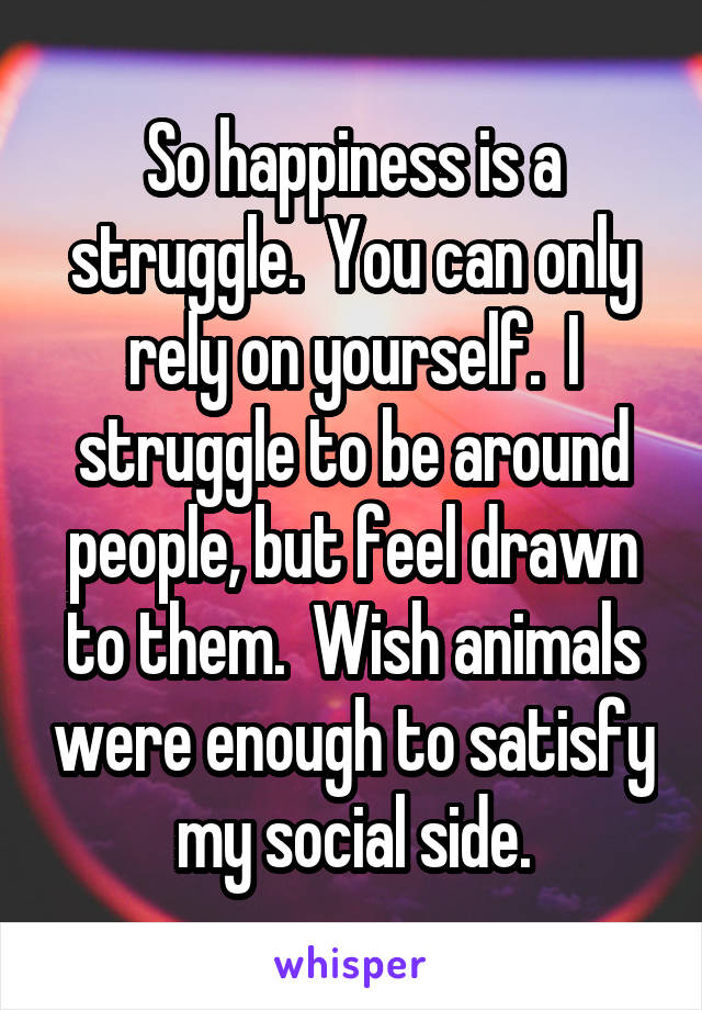 So happiness is a struggle.  You can only rely on yourself.  I struggle to be around people, but feel drawn to them.  Wish animals were enough to satisfy my social side.