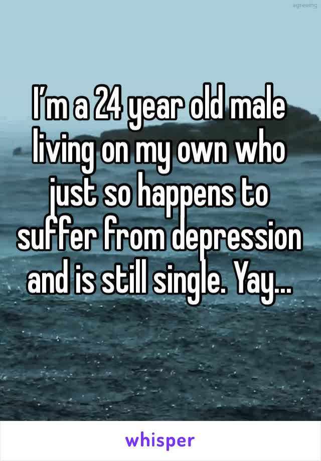 I'm a 24 year old male living on my own who just so happens to suffer from depression and is still single. Yay...