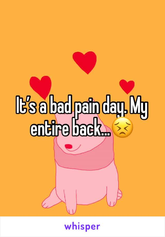 It's a bad pain day. My entire back...😣