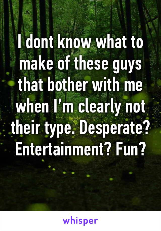 I dont know what to make of these guys that bother with me when I'm clearly not their type. Desperate? Entertainment? Fun?