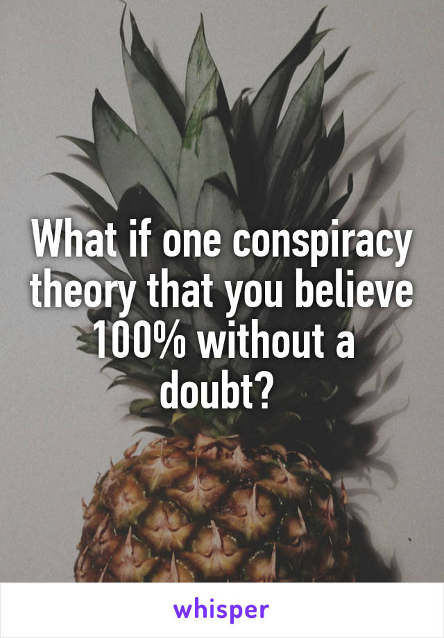 What if one conspiracy theory that you believe 100% without a doubt?