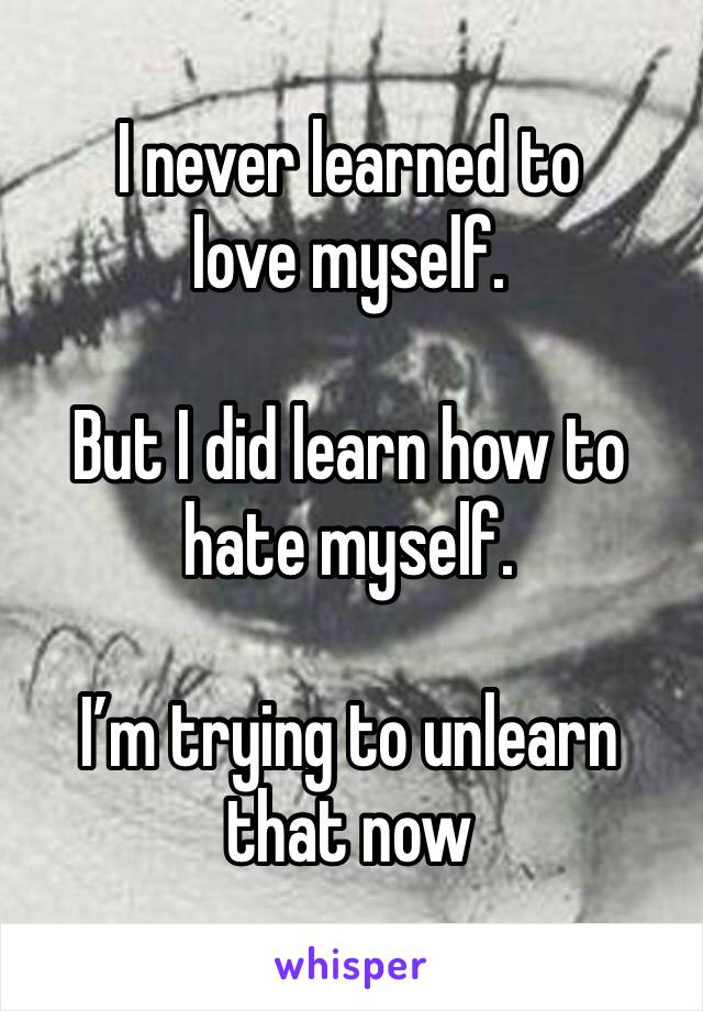 I never learned to  love myself.   But I did learn how to hate myself.   I'm trying to unlearn that now