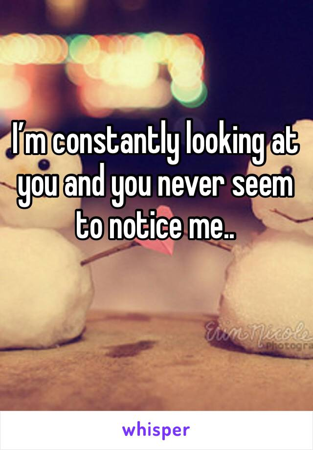 I'm constantly looking at  you and you never seem to notice me..