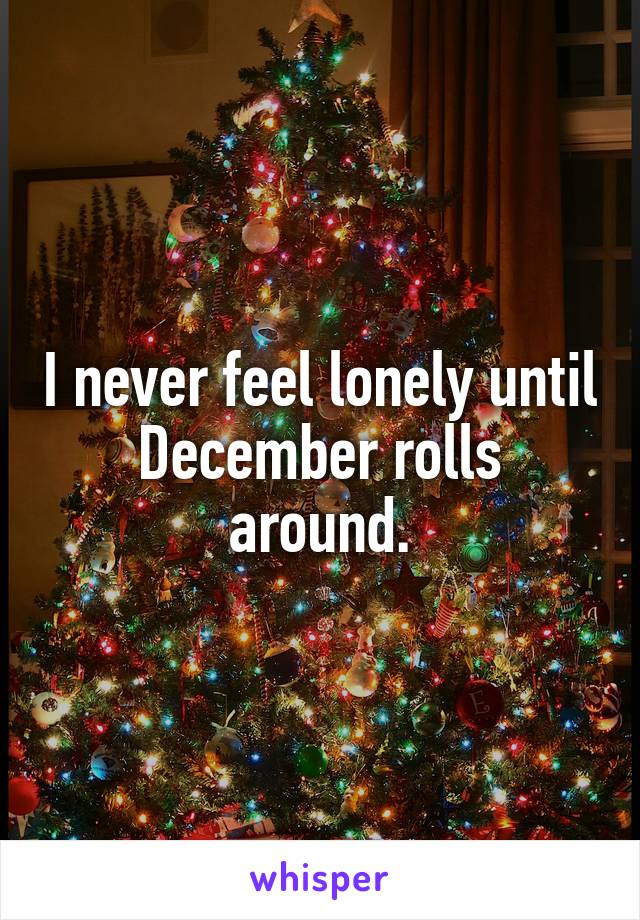 I never feel lonely until December rolls around.