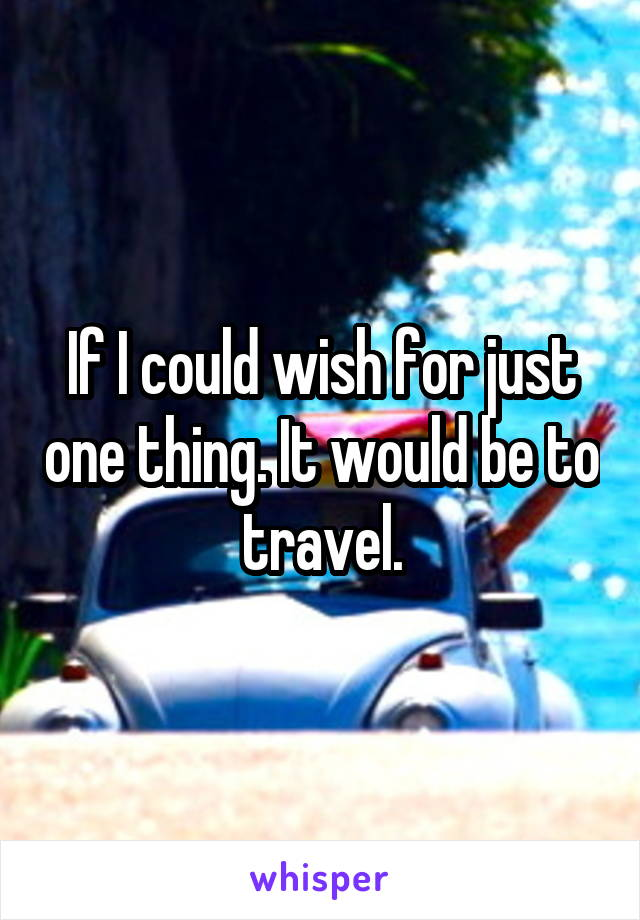 If I could wish for just one thing. It would be to travel.