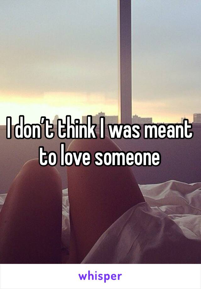 I don't think I was meant to love someone