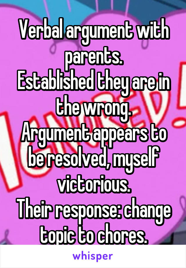 Verbal argument with parents. Established they are in the wrong. Argument appears to be resolved, myself victorious. Their response: change topic to chores.