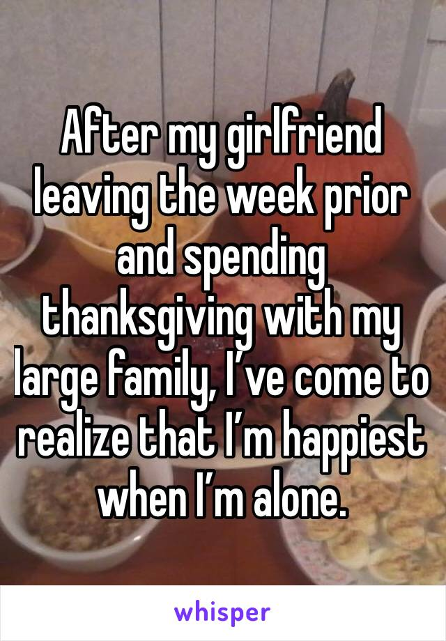 After my girlfriend leaving the week prior and spending thanksgiving with my large family, I've come to realize that I'm happiest when I'm alone.