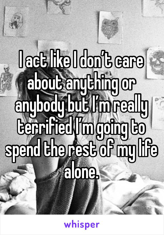I act like I don't care about anything or anybody but I'm really terrified I'm going to spend the rest of my life alone.