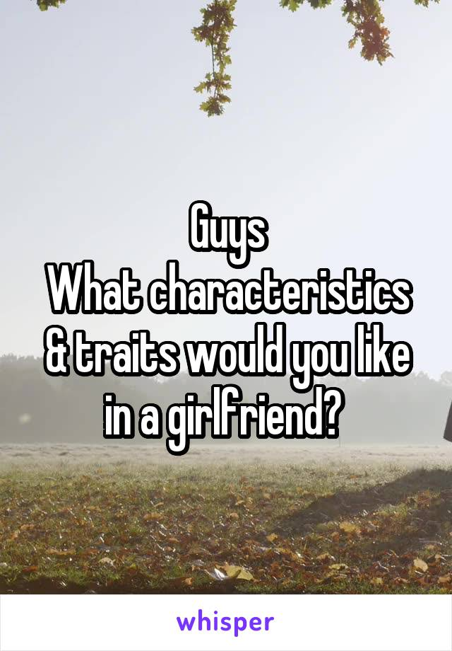 Guys What characteristics & traits would you like in a girlfriend?