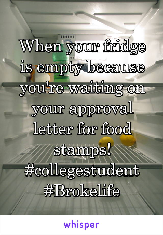 When your fridge is empty because you're waiting on your approval letter for food stamps! #collegestudent #Brokelife