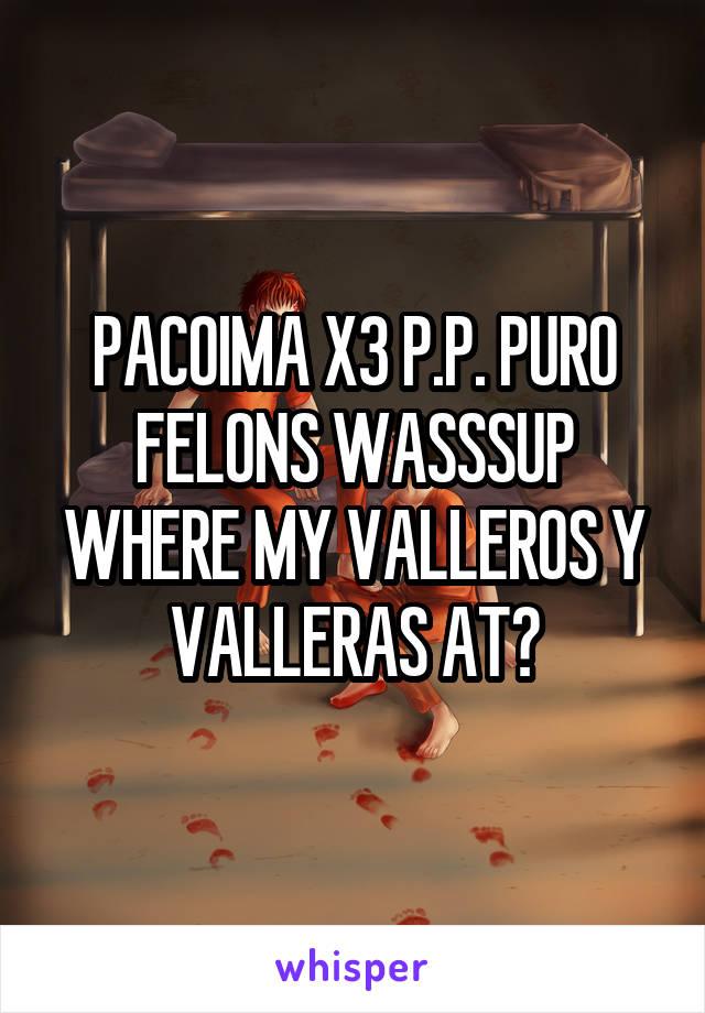 PACOIMA X3 P.P. PURO FELONS WASSSUP WHERE MY VALLEROS Y VALLERAS AT?