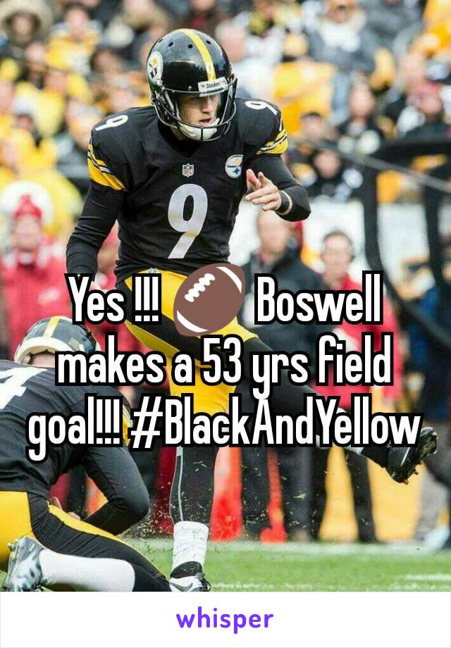 Yes !!! 🏈 Boswell makes a 53 yrs field goal!!! #BlackAndYellow