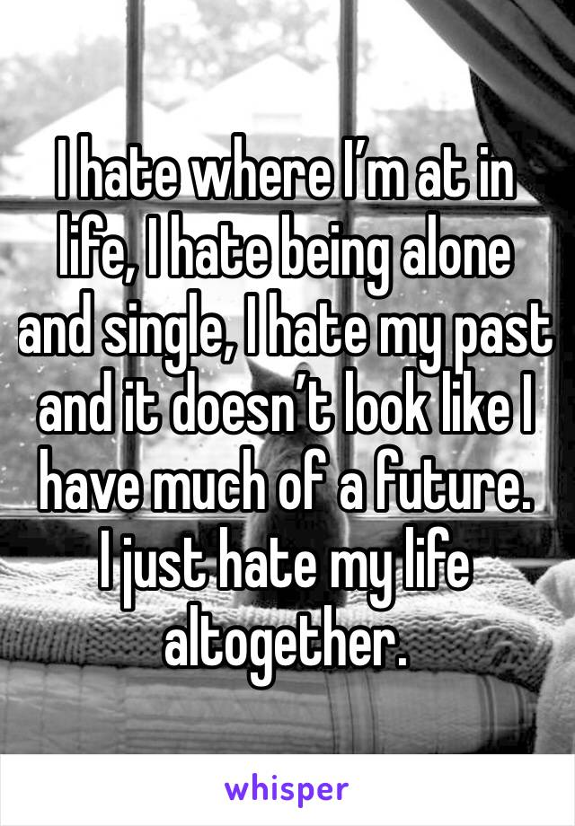 I hate where I'm at in life, I hate being alone and single, I hate my past and it doesn't look like I have much of a future.   I just hate my life altogether.