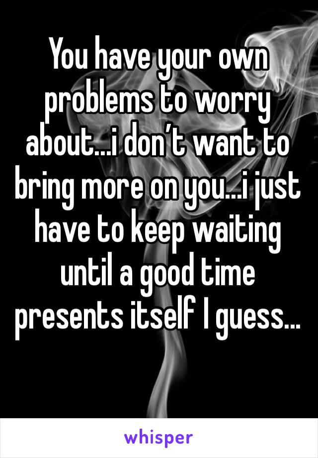 You have your own problems to worry about...i don't want to bring more on you...i just have to keep waiting until a good time presents itself I guess...