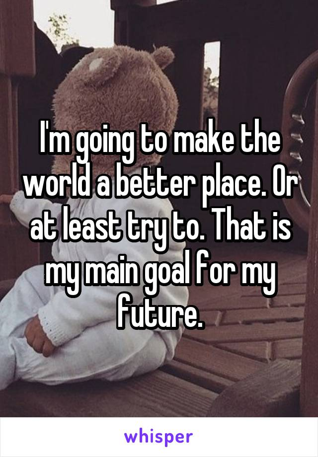 I'm going to make the world a better place. Or at least try to. That is my main goal for my future.