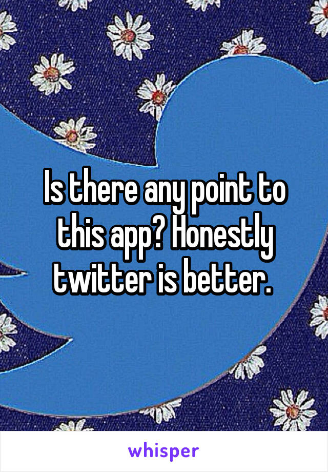 Is there any point to this app? Honestly twitter is better.