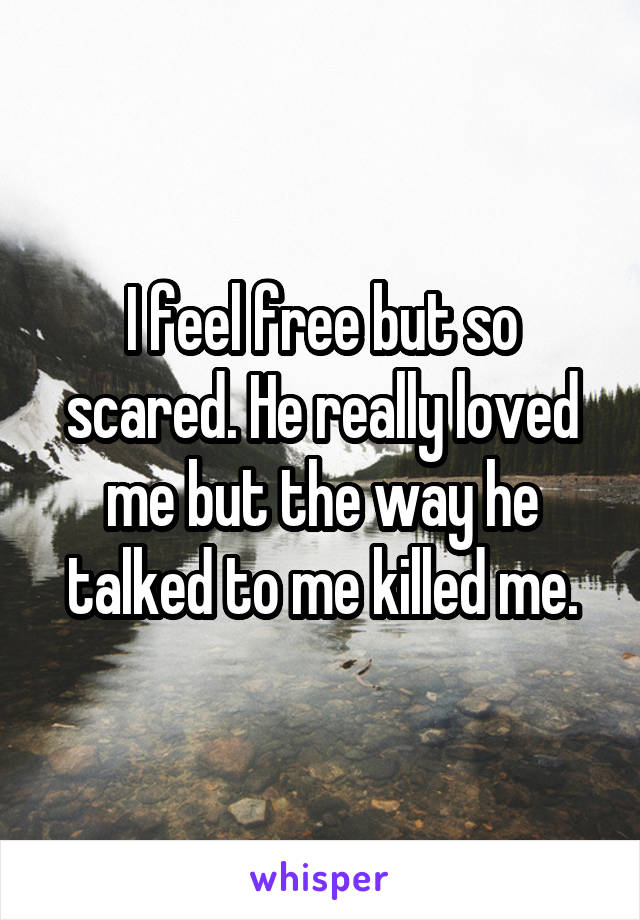 I feel free but so scared. He really loved me but the way he talked to me killed me.