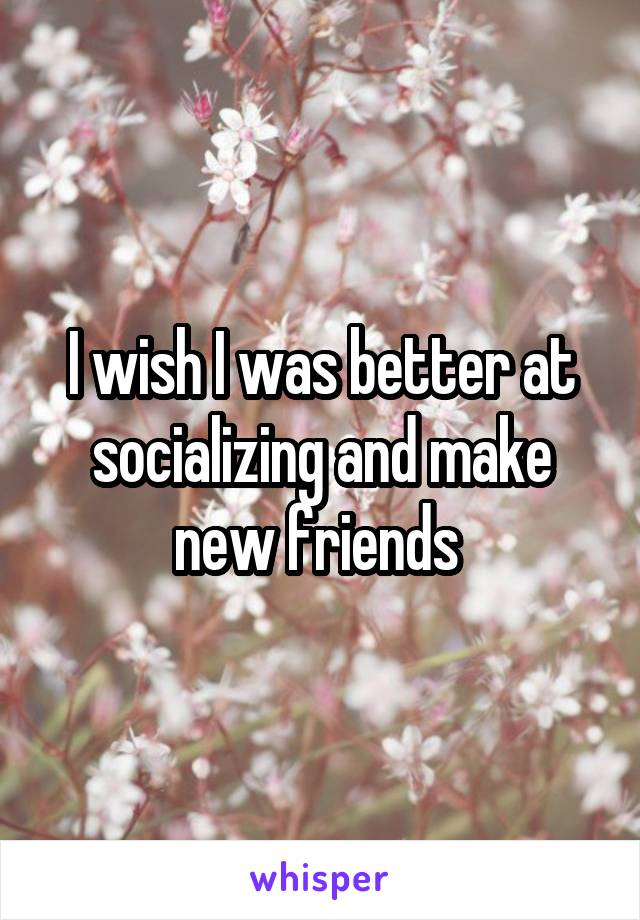 I wish I was better at socializing and make new friends