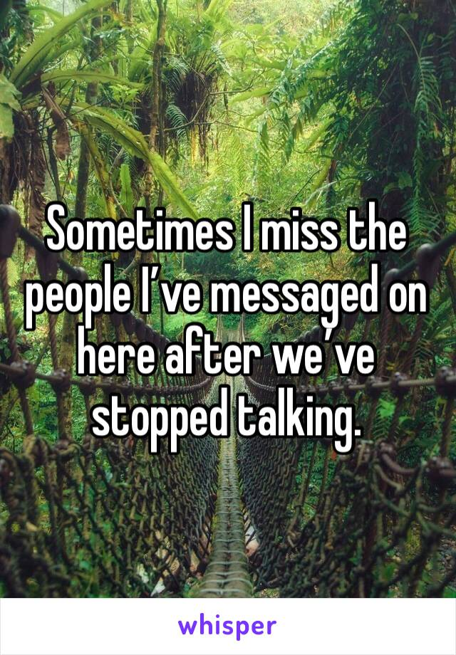 Sometimes I miss the people I've messaged on here after we've stopped talking.