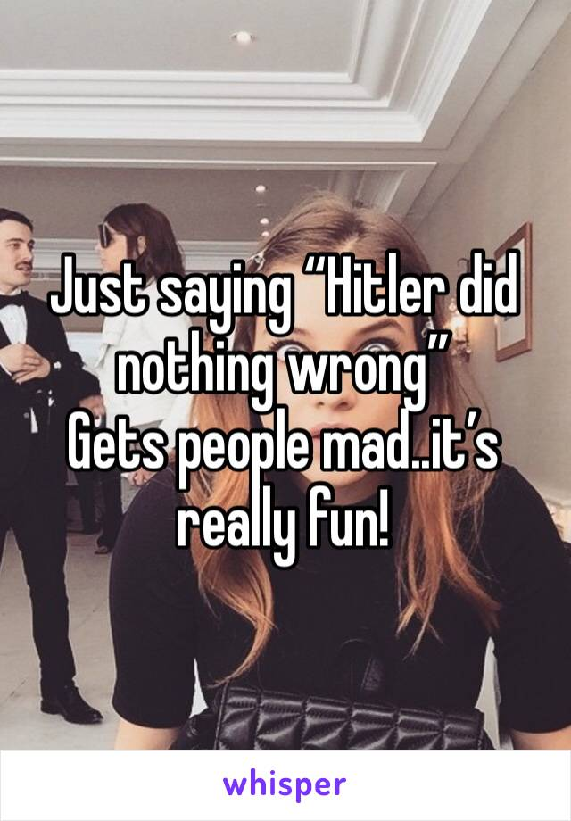 "Just saying ""Hitler did nothing wrong"" Gets people mad..it's really fun!"