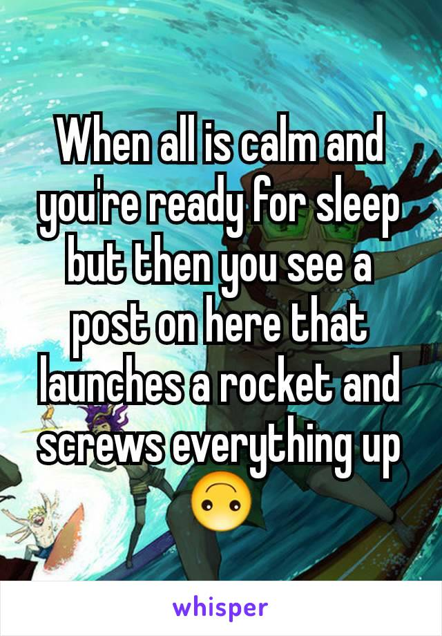 When all is calm and you're ready for sleep but then you see a post on here that launches a rocket and screws everything up 🙃