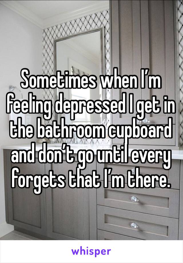Sometimes when I'm feeling depressed I get in the bathroom cupboard and don't go until every forgets that I'm there.