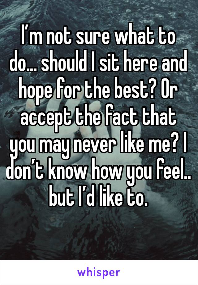 I'm not sure what to do... should I sit here and hope for the best? Or accept the fact that you may never like me? I don't know how you feel.. but I'd like to.