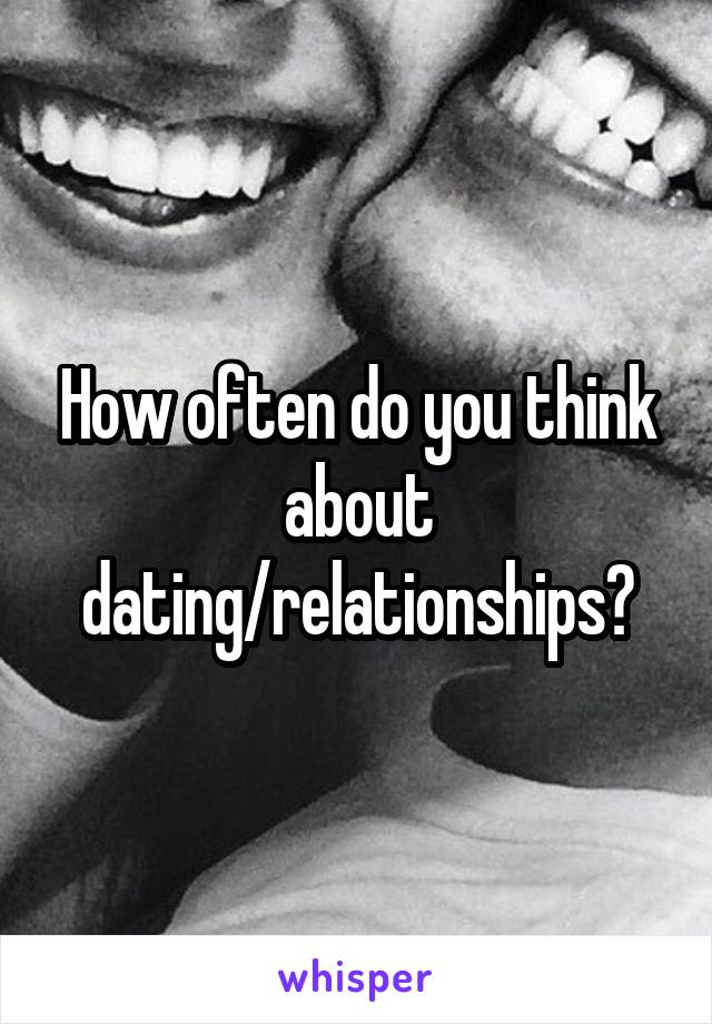 How often do you think about dating/relationships?