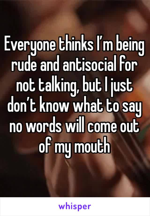 Everyone thinks I'm being rude and antisocial for not talking, but I just don't know what to say no words will come out of my mouth
