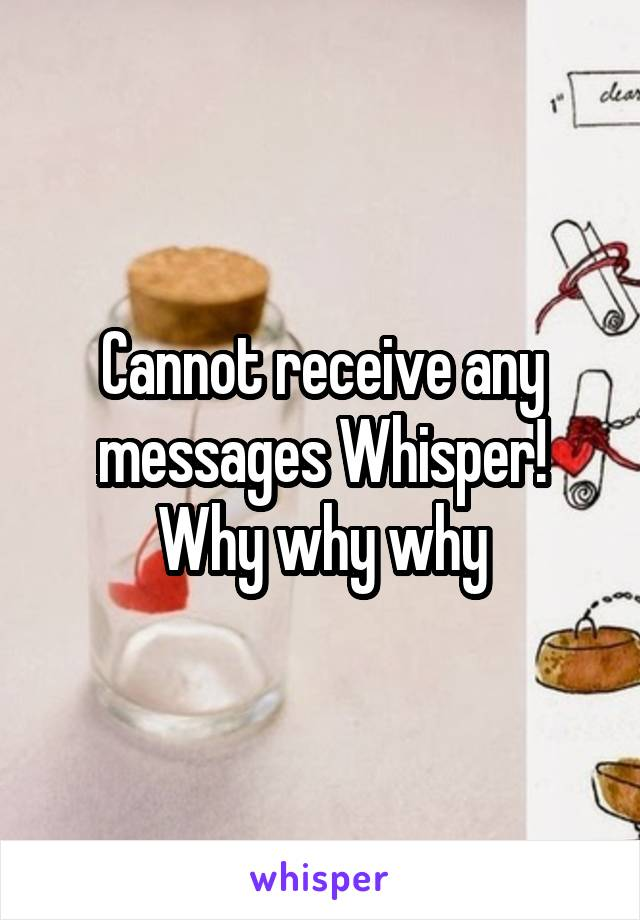 Cannot receive any messages Whisper! Why why why