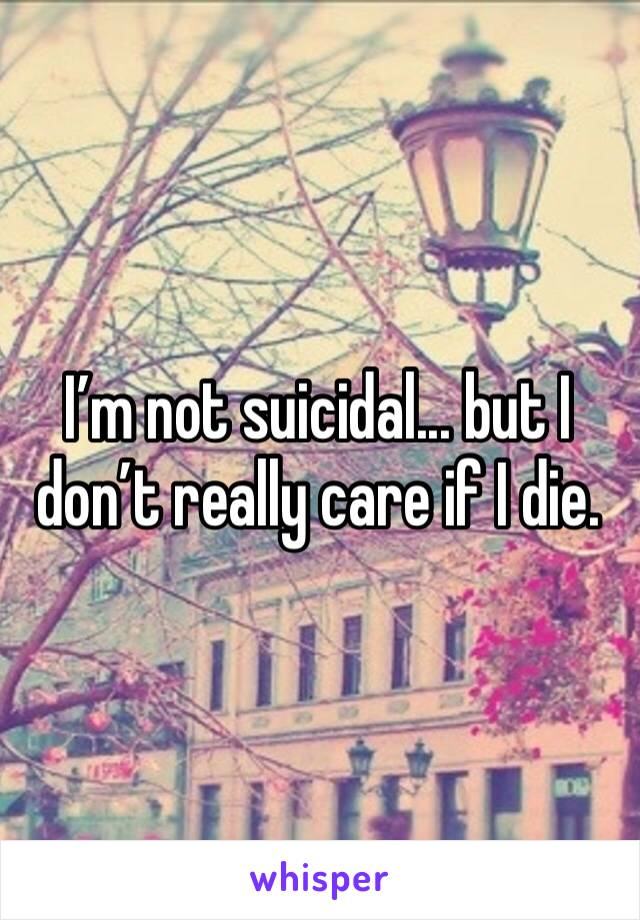 I'm not suicidal... but I don't really care if I die.