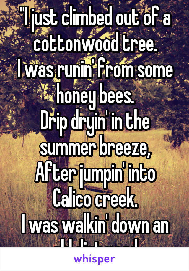 """""""I just climbed out of a cottonwood tree. I was runin' from some honey bees. Drip dryin' in the summer breeze, After jumpin' into Calico creek. I was walkin' down an old dirt road"""