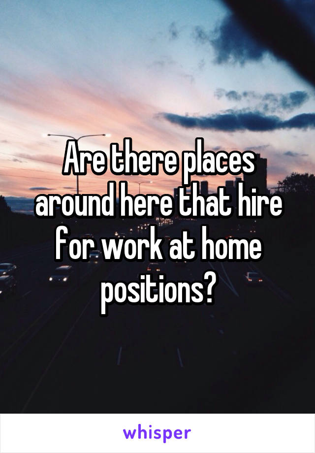 Are there places around here that hire for work at home positions?
