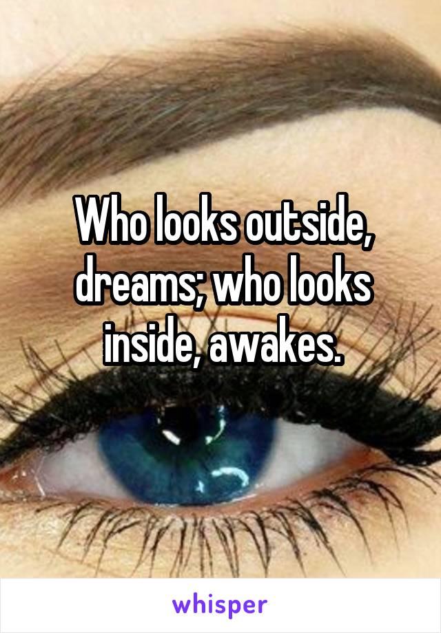 Who looks outside, dreams; who looks inside, awakes.