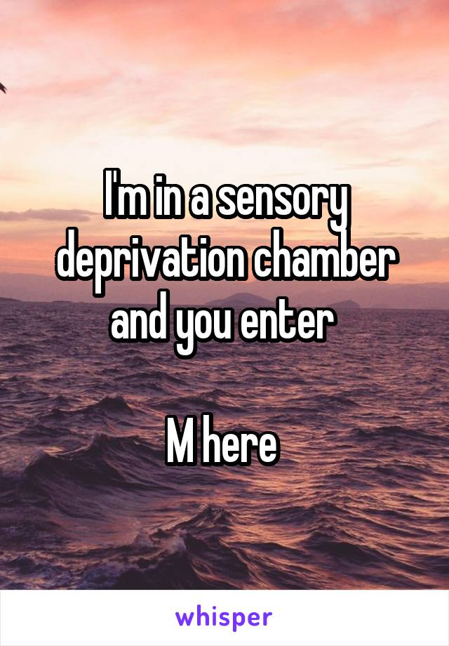 I'm in a sensory deprivation chamber and you enter   M here
