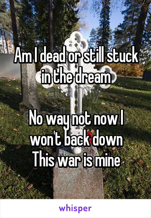 Am I dead or still stuck in the dream  No way not now I won't back down This war is mine