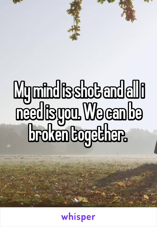 My mind is shot and all i need is you. We can be broken together.